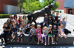 Pre K 1 with the Panther Statue